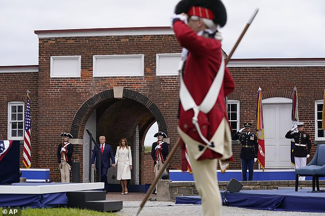 Trump and Melania Trump arrive to participate in a Memorial Day ceremony at Fort McHenry National Monument and Historic Shrine in Baltimore