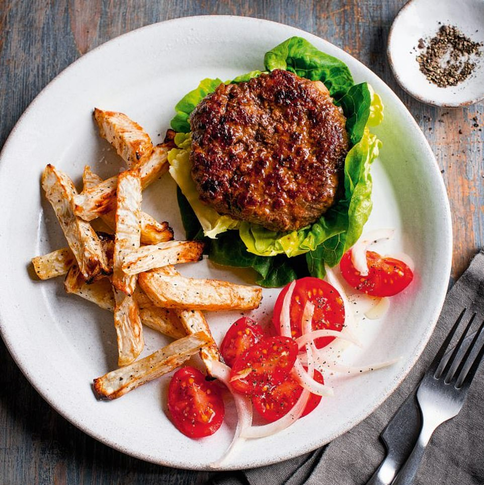 This juicy burger with celeriac chips is best served with a large mixed salad for a scrumptious dinner