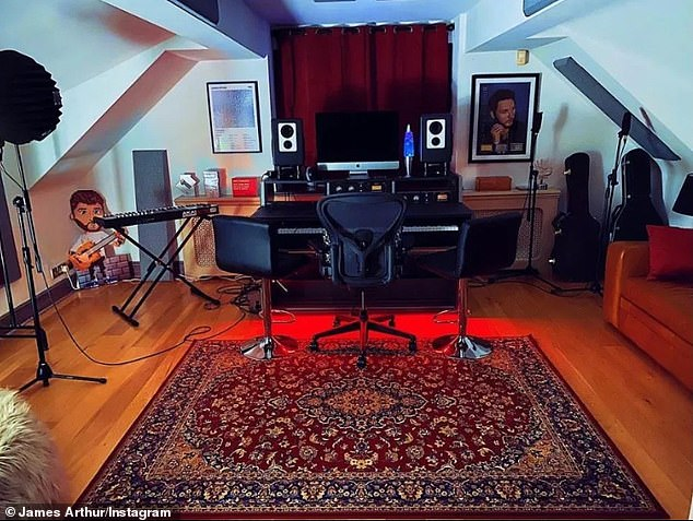 Creative: James also posted a snapshot of his music room where he undoubtedly wrote several of his hits
