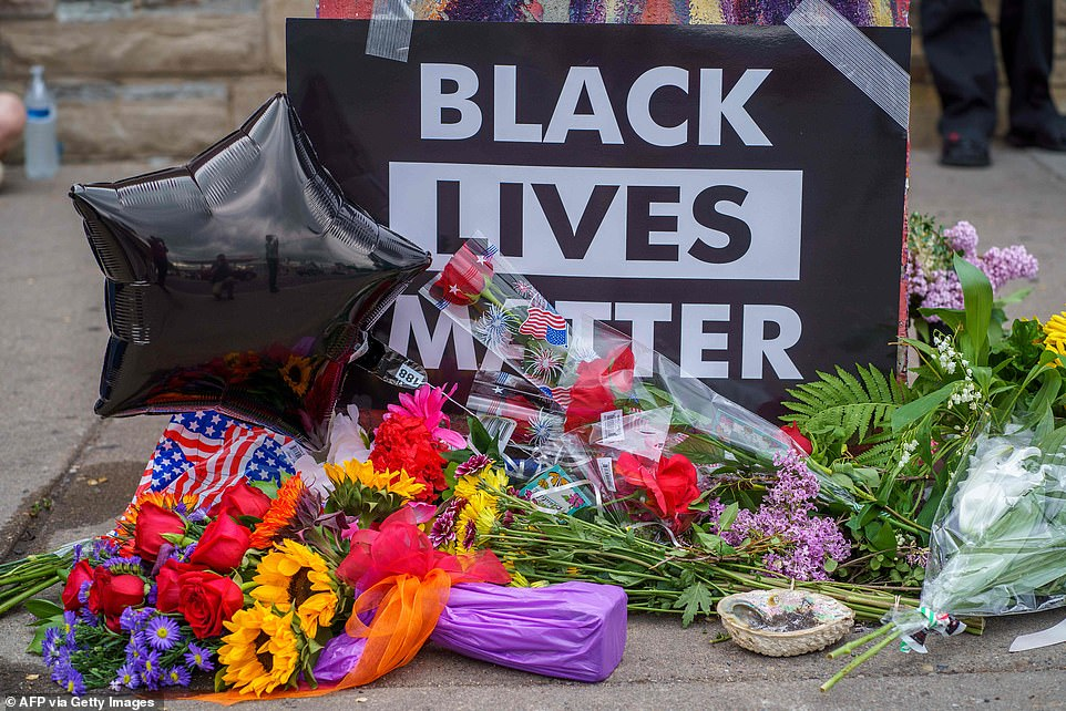 A Black Lives Matter memorial was left for George Floyd who died in custody on May 26