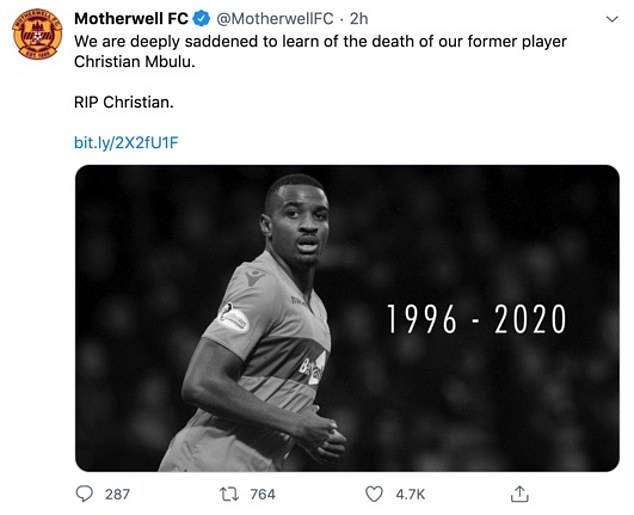 Motherwell put out a tribute on social media in which they were 'deeply saddened' by news