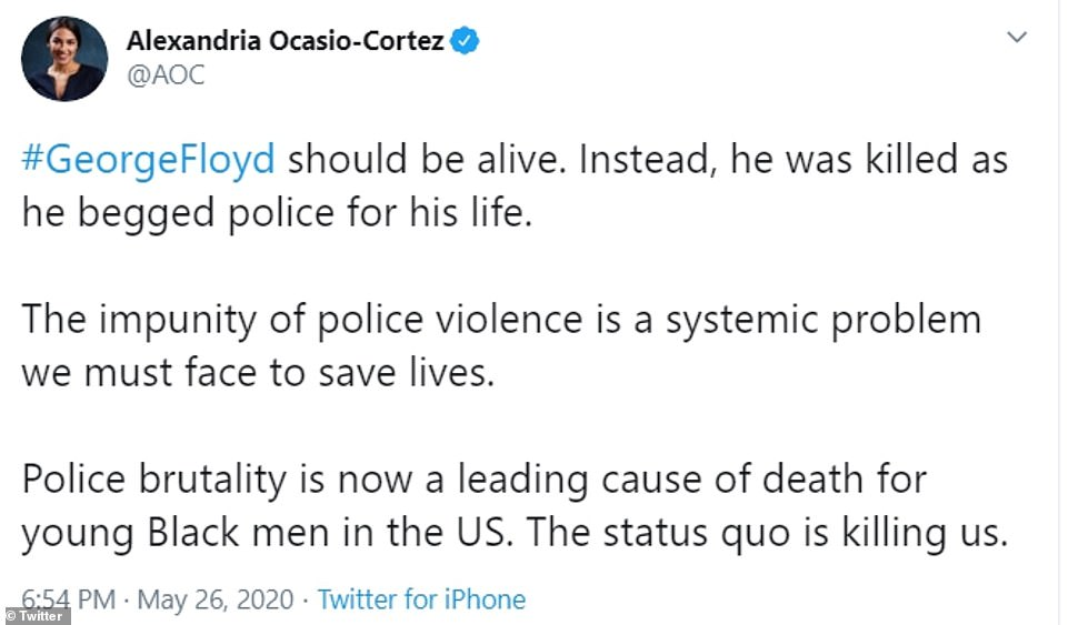 Several politicians have also slammed Floyd's death and called for action against what they describe as a 'systemic problem' in policing across America