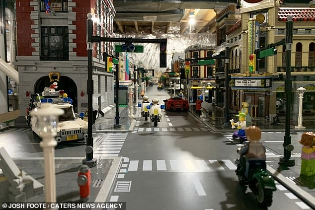 The hand-built city consists of 1600 different sets of Lego with the retail value of $50,000 dollars, with an additional $40,000 worth of extra pieces and custom buildings