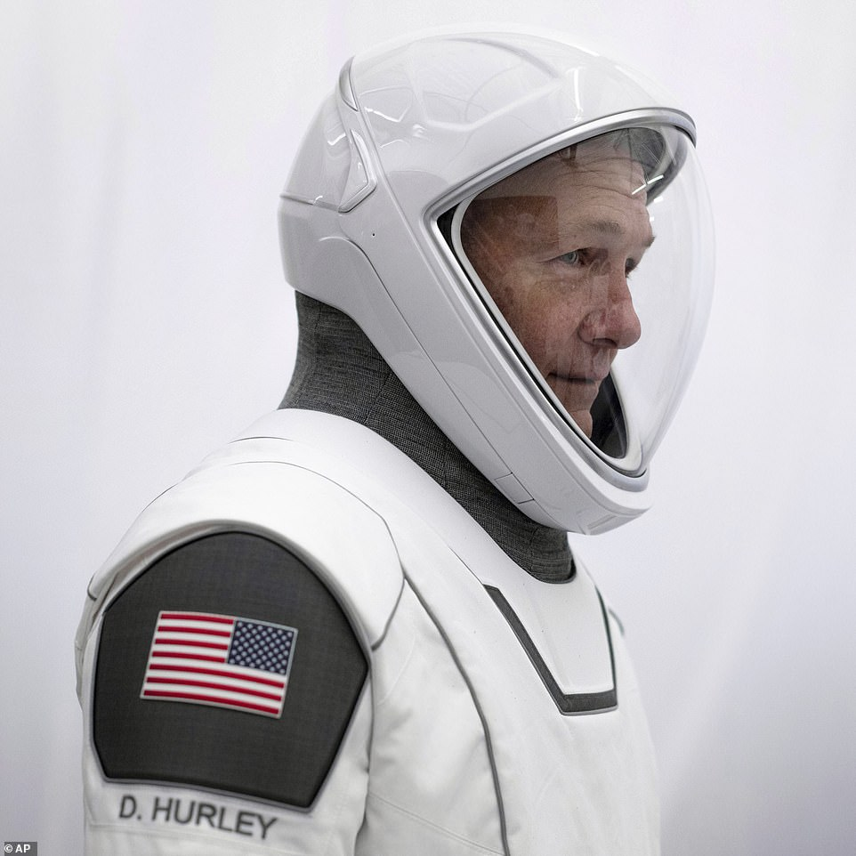 Hurley in his spacesuit at SpaceX headquarters in Hawthorne, California.These are IVA-type suits (intravehicular activity) meaning they are not suitable for use outside the ship and don't provide protection against radiation.