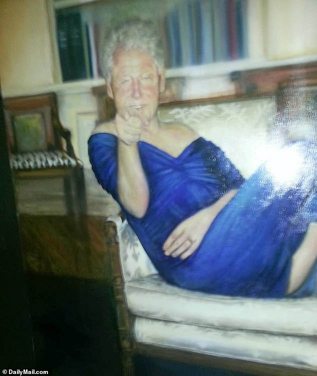 The bizarre painting of Bill Clinton wearing a blue dress and red heels and lounging in the oval office hanging inside the Epstein mansion in Manhattan