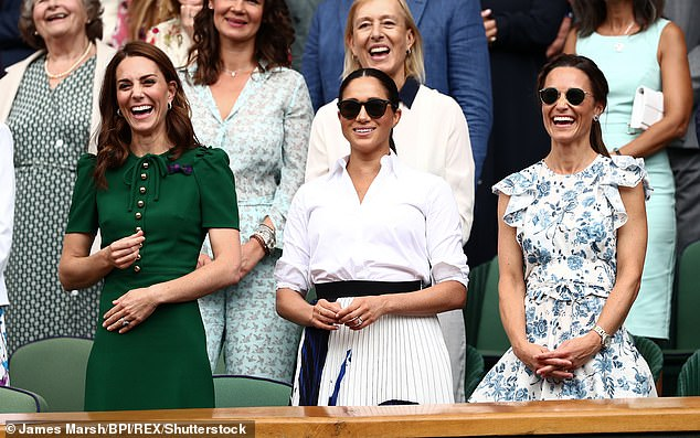 Kate, Meghan and Pippa Middleton in the Royal Box on Center Court Wimbledon Tennis Championships, July 13, 2019