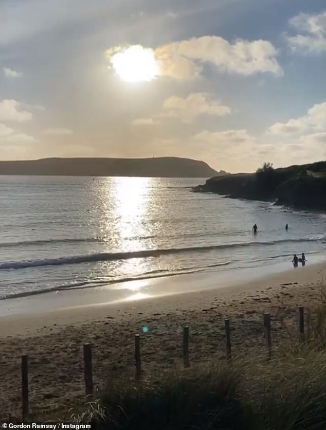Tranquil: The chef recently shared a glimpse of the stunning beach settings around his second home as he enjoyed a Bank Holiday stroll