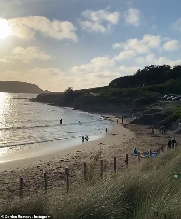 His happy place:'As the sun sets it's so nice to see on the beach, swimmers, barbecues, how beautiful. That's what Bank Holiday Weekends should be about,' he told fans