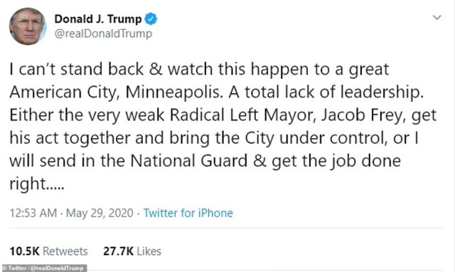 28958886 8369619 image a 36 1590758656189 Minneapolis in ruins : The National Guard said it had 'no clear direction' when 500 soldiers were called onto the streets of Minneapolis after angry thugs burned the city to the ground during a third night of riots over the death of George Floyd.
