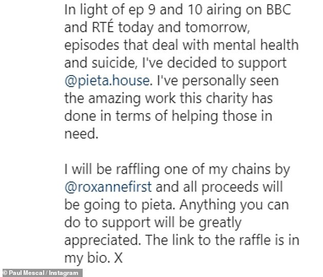 Good cause: by posting on Instagram, the moron said he wanted to raise funds for Pieta mental health charity