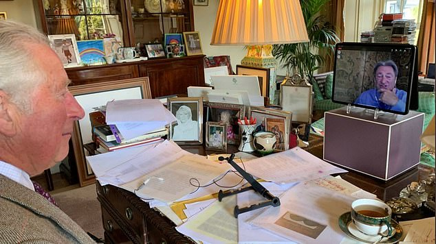 Prince Charles's cluttered desk as he talks with Alan Titchmarsh show his 'old posh' credentials