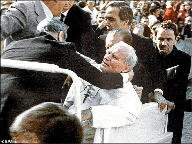 Pope John Paul II (pictured) was the subject of a vicious attack in St Peter's Square in May 1981, with the attacker using a poisoned-tipped umbrella