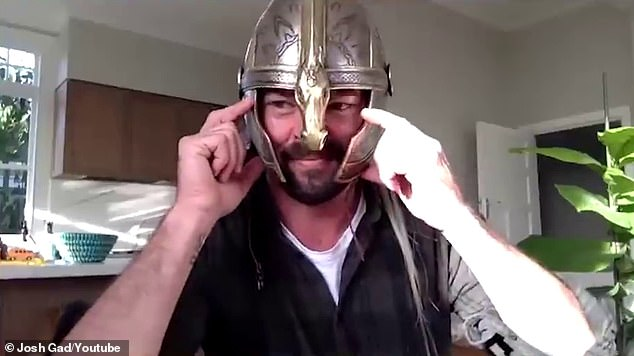 Show and tell: Karl Urban - who played Rider of Rohan Éomer - showed off his souvenir from the series, a silver helmet