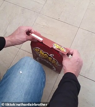 TikTok user Nathan Fairbrother posted a video demonstrating the what he said was the best way to fold a cereal box