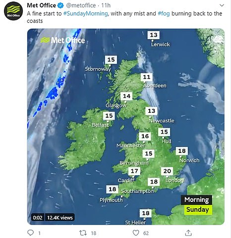 Pictured: Today's weather forecast from the Met Office as temperatures are set to climb even higher this afternoon