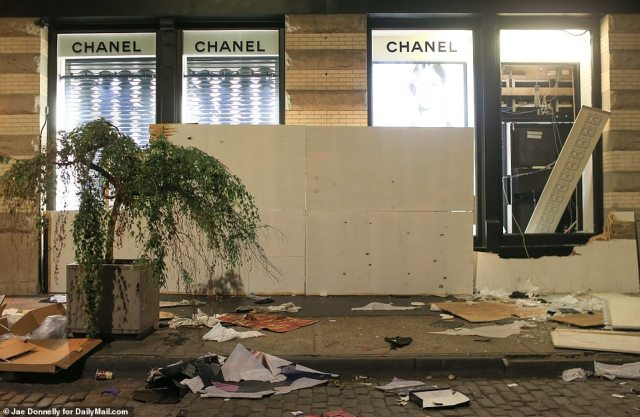 Chanel on Sunday night after looters ransacked the store