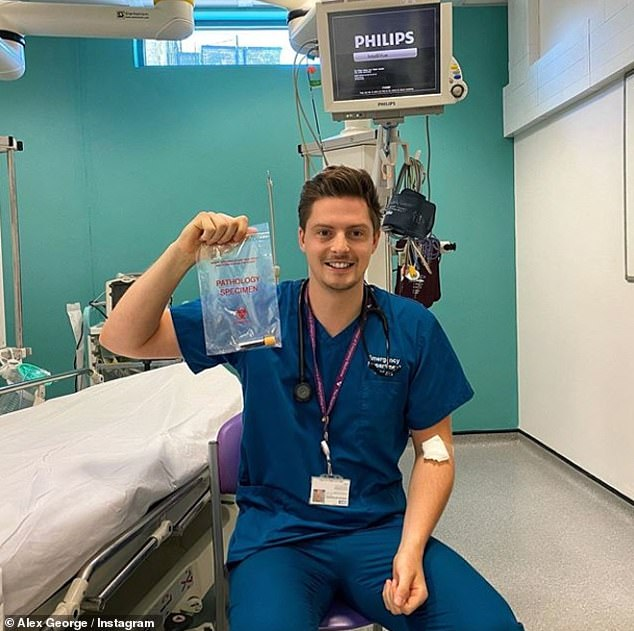 Results: Dr Alex George, 30, has revealed that his coronavirus antibody test came back negative as he continues to work on the NHS frontline