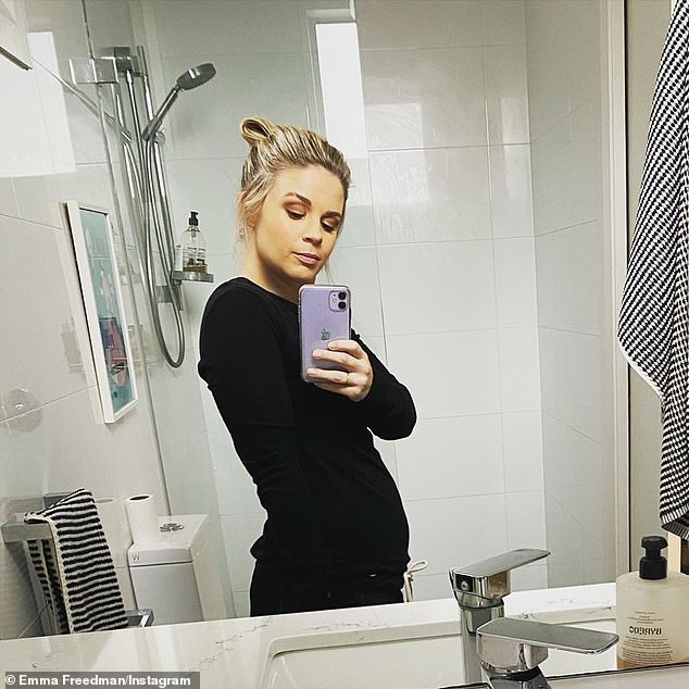 Bumping along nicely! Emma shared the first glimpse of her small baby bump last week, after revealing she is expecting her second child