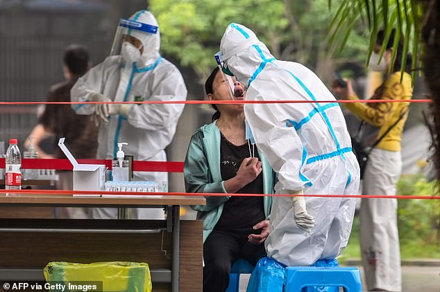 A total of seven confirmed cases were found in the same residential compound, Sanmin Residence, in Wuhan. A woman is pictured being screened for COVID-19 in Wuhan on May 15