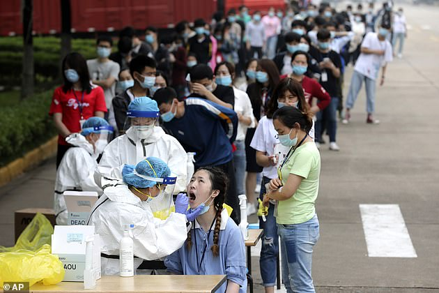 On May 15, Wuhan government ordered all residents to be tested for COVID-19 in a '10-day great battle' after a new cluster of infection emerged in early May.Workers line up for medical workers to take swabs for the coronavirus test at a large factory in Wuhan on May 15