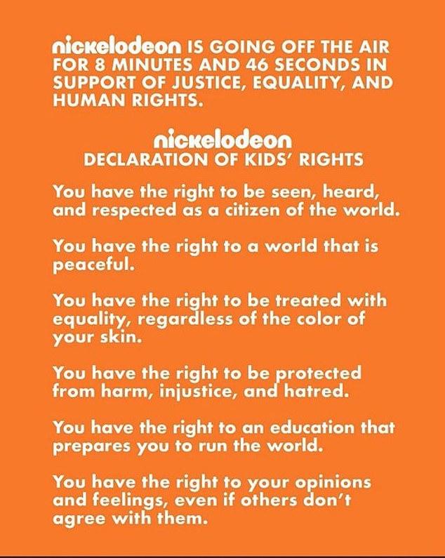 Nickelodeon a montré lundi sa déclaration des droits de 1990 plus tôt dans la soirée
