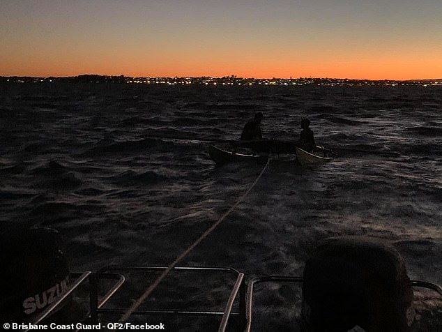 The pair were only stranded for about 45 minutes before the Brisbane Coast Guard rescued them