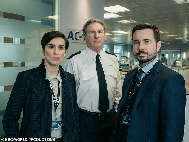 Before: The actress (pictured in Line of Duty alongside Adrian Dunbar and Martin Compston) previously wore her cropped locks in a brunette
