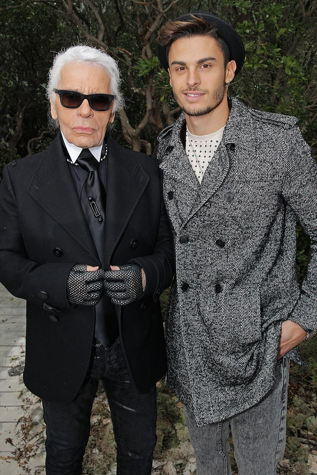 Baptiste Giabiconi, pictured with the designer in 2013 said he was Lagerfeld's spiritual son and his favourite heir while talking about the inheritance on French television