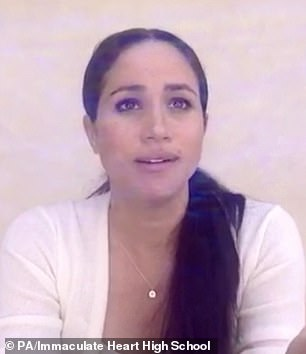 Meghan Markle gave a video address to her former Los Angeles school in which she spoke about the murder of George Floyd
