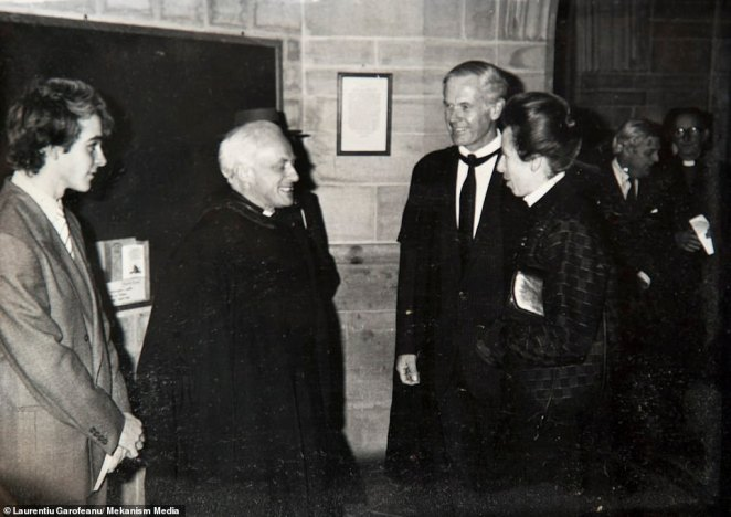Mr Clements (left) is pictured meeting Princess Anne (right) during his former life as a priest before meeting Mr Marin