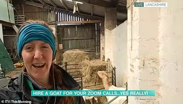 Dot (pictured with the goats), from Lancashire, explained how people can now hire goats to join in with family or work Zoom calls