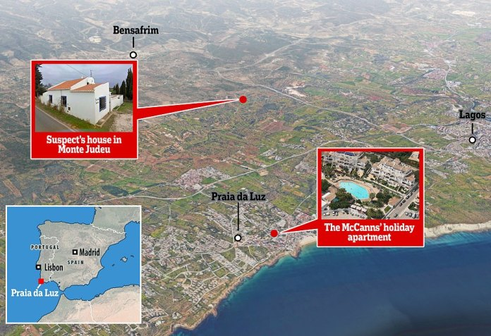 The farm where the new lead suspect in the disappearance of Madeleine McCann lived was located only three kilometers from where she disappeared from her family's vacation apartment.