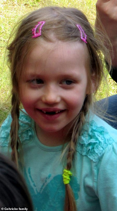 Inga Gehricke, five, had a barbecue with her family on May 2, 2015