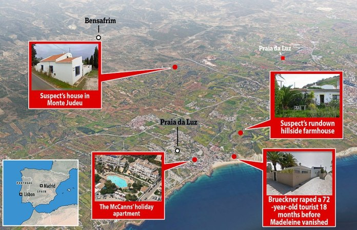 A map of the Praia de Luz region of Portugal showing the suspect's house and the McCann vacation apartment that was nearby