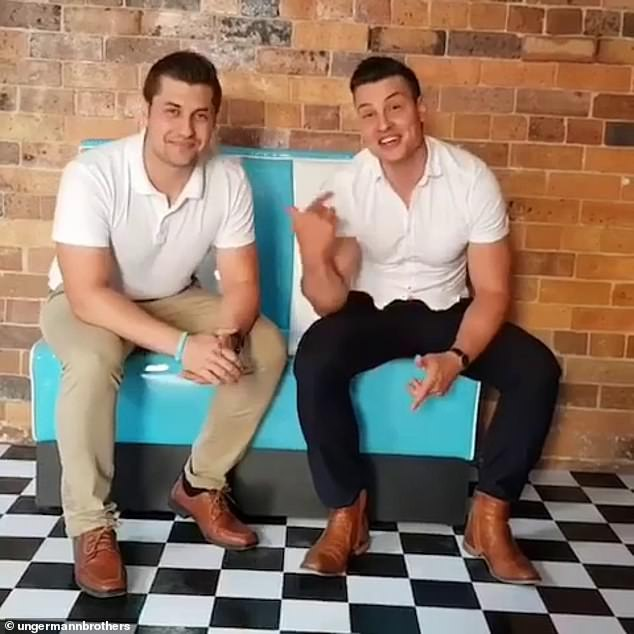 Family business: Virtually every reference to the cooking show contestant has been also been deleted from the website of the family's Brisbane dessert parlour, the Ungermann Brothers. Pictured with brother Danny (left)