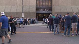 Two Buffalo Police Officers who Shoved 75-Year-Old Peace Activist are 'Expected to be Charged' Today as Crowd of Rebel Colleagues Led by Team who Resigned in Disgust Over Their Treatment Gather Outside Courthouse in Solidarity