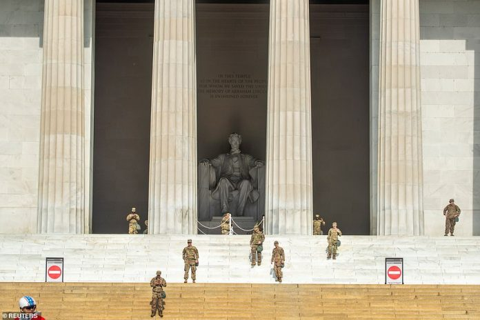 WASHINGTON, DC: National Guard soldiers continue to watch Lincoln Memorial as Washington DC kicks off another day of anti-violence and anti-racism protests with nearly one million people who should flood the streets all day