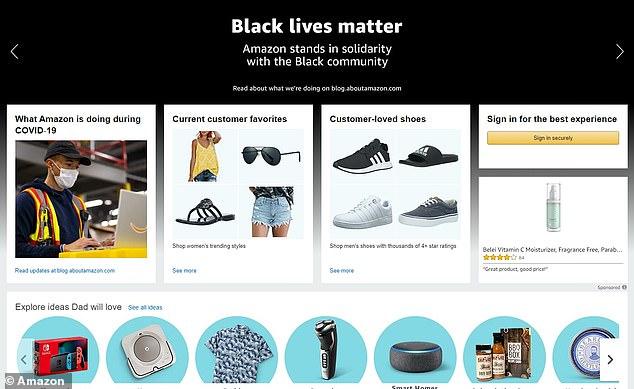 Amazon website added banner saying `` Black Lives Matter ''
