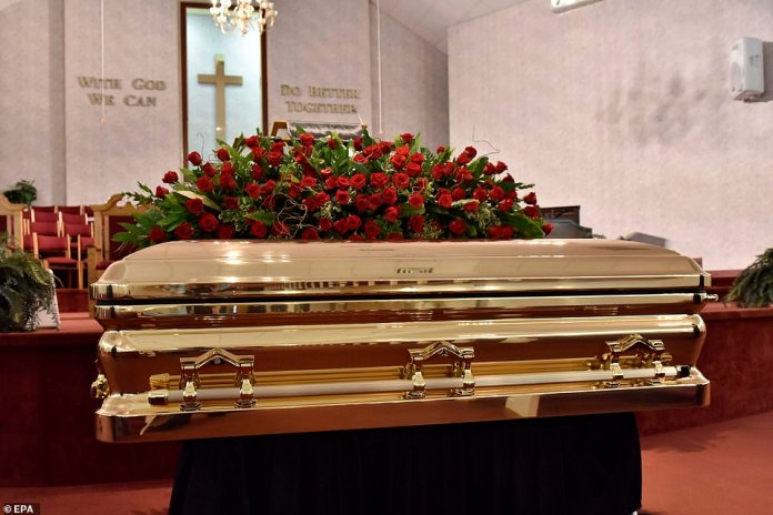 RAEFORD, NORTH CAROLINA: The coffin carrying the body of George Floyd to his memorial services at R.L Douglas Cape Fear