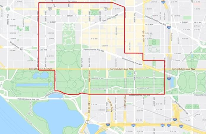 D.C. police traffic shared the above map on Saturday to show the perimeter streets of the White House that have been closed. The area in the red lines has become a pedestrian area for protesters