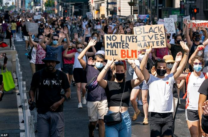 MANHATTAN, NEW YORK CITY: Protesters spanned many blocks as they walked south through the city