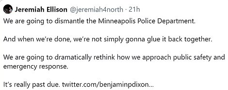 Minneapolis officials including Ilhan Omar and Jeremiah Ellison - the Minnesota AG's son - have vowed to reimagine the police force but there is no clear plan for an alternative