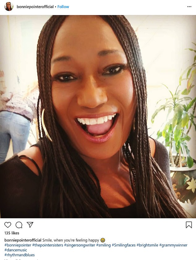 She was a happy lady: the star shared this selfie with the caption `` Smile, when you feel happy ''