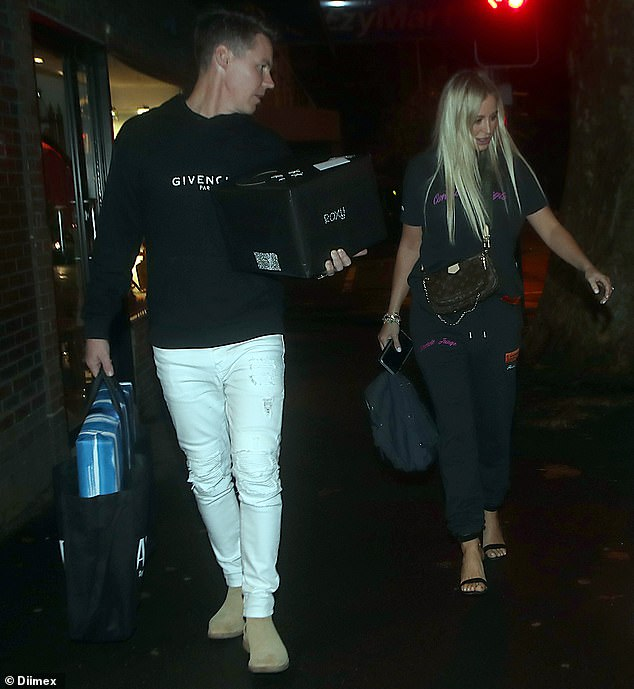 Low-key style: The publicist looked effortlessly chic for the special occasion in a black T-shirt and matching loose pants by Heron Preston