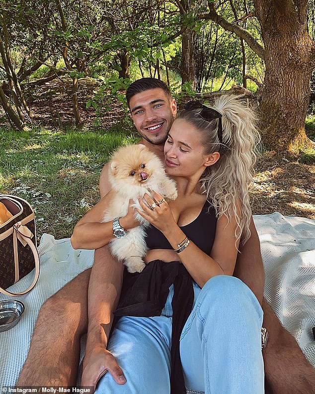 Sad: The influencer left social media last week after experiencing violent reactions following the death of the Pomeranian puppy, who was gifted a few days before his death (photo last month)