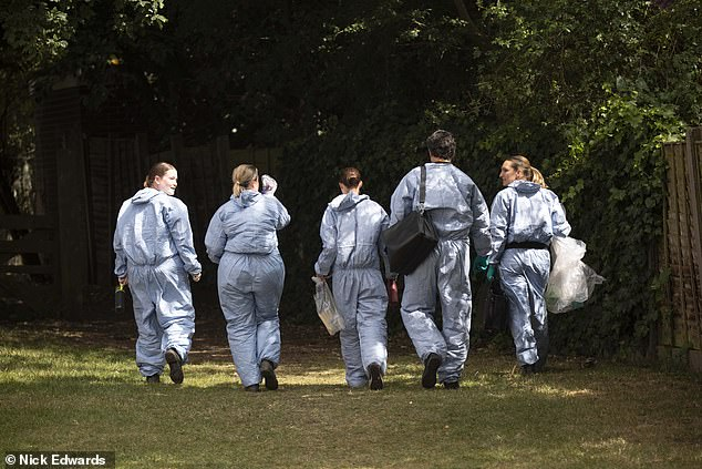 Police forensics at Fryent Country Park.Prior to the two women being discovered, their bodies are believed to have been spotted a day earlier by a woman who believed they were asleep