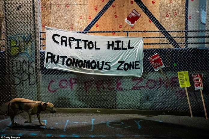 Protesters established a six-block radius around the eastern police compound and called it the `` Capitol Hill Autonomous Zone '' (above)