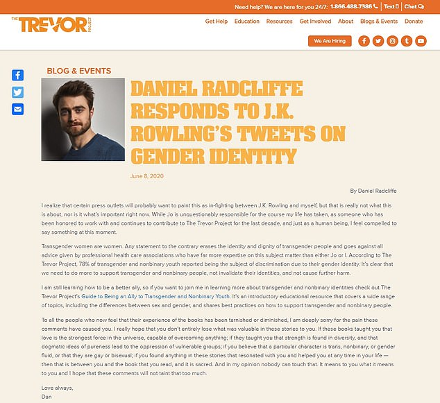 Hitting: His remarks led to a backlash from stars such as Radcliffe and Eddie Redmayne, who star in Rowling's Fantastic Beasts films