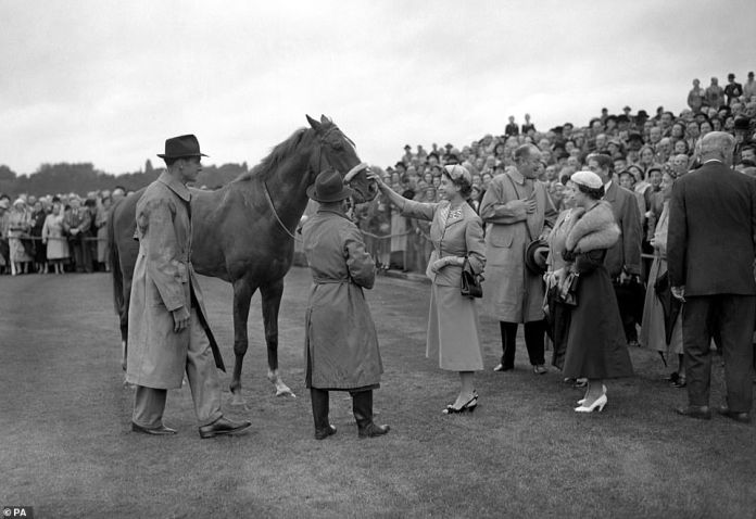 The monarch smiles as he caresses Aureole, then aged four, who was bred by King George VI and was the first horse that the Queen inherited from her late father, after her victory in King George VI and the stakes of the Queen Elizabeth at Ascot Races