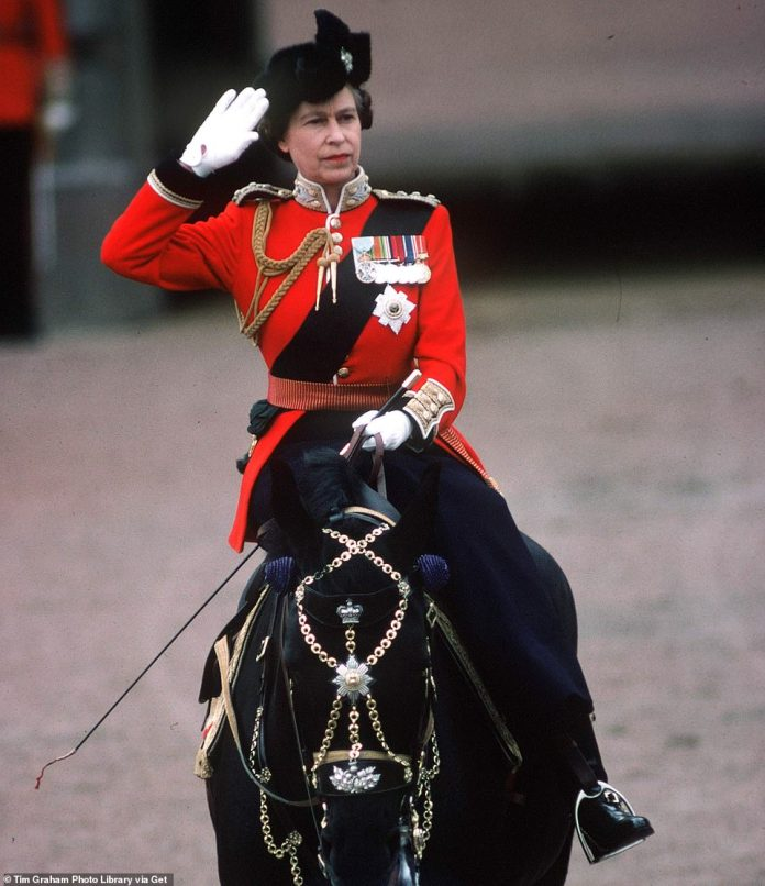 The Queen rides one of her favorite Burmese horses, presented to her in 1969 by the Royal Canadian Mounted Police, in a color parade ceremony in 1979